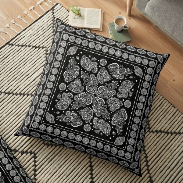 Oriental Paisley Ornament Black and White Floor Pillow