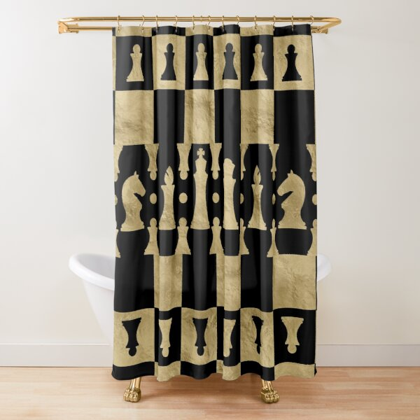 Chess Pieces Pattern - black and gold Shower Curtain