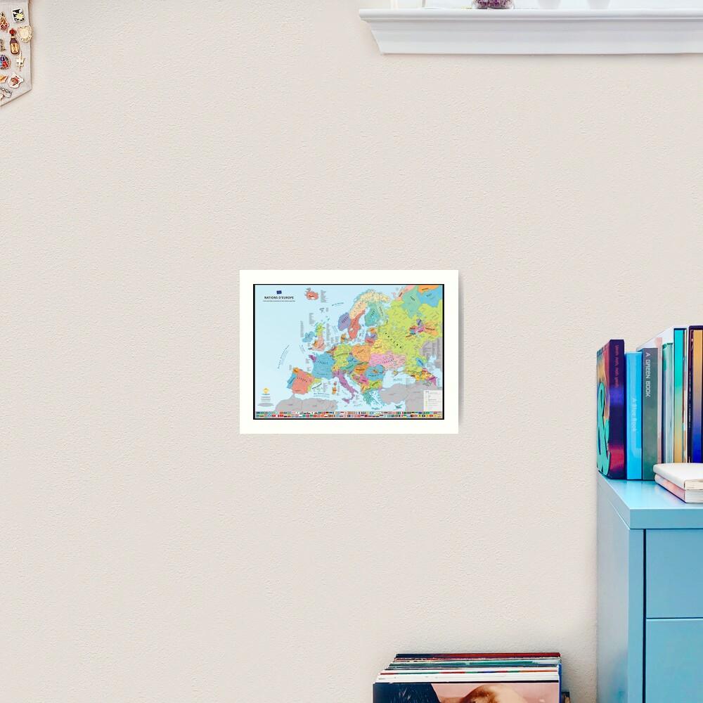 """Impression artistique «""""Nations d'Europe"""" : Carte des nations historiques d'Europe (en français)»"""