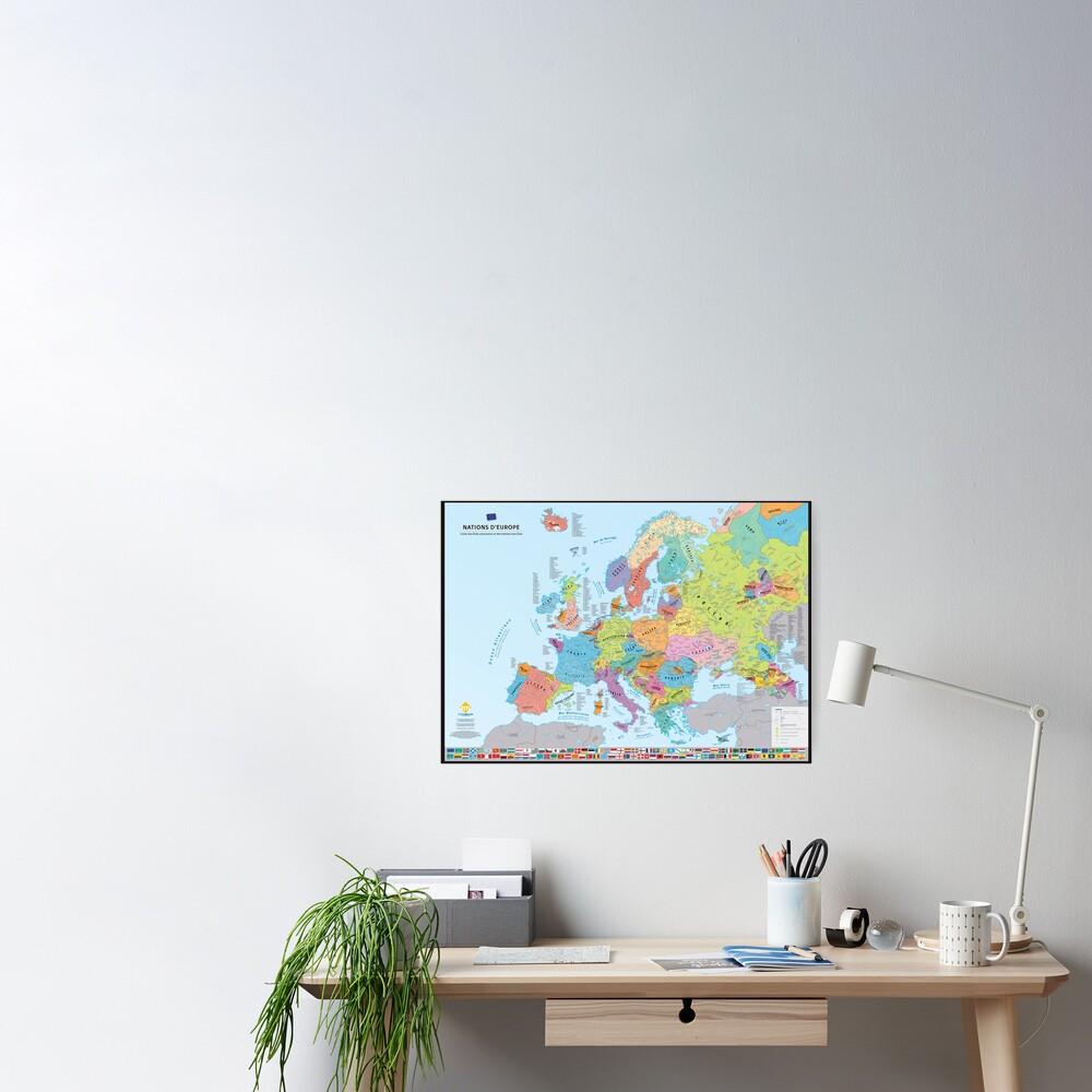 """Poster «""""Nations d'Europe"""" : Carte des nations historiques d'Europe (en français)»"""