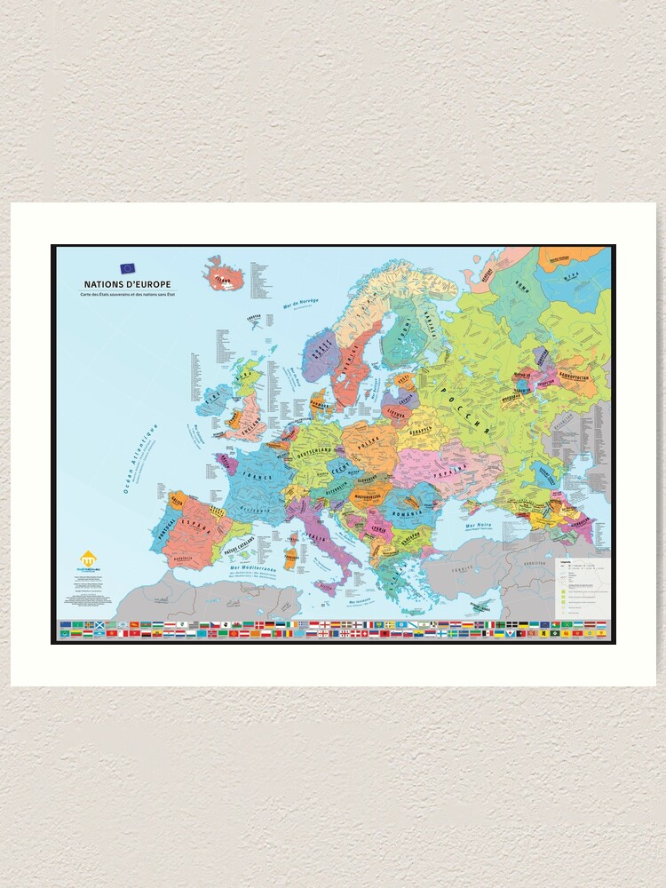 """Impression artistique ''""""Nations d'Europe"""" : Carte des nations historiques d'Europe (en français)': autre vue"""