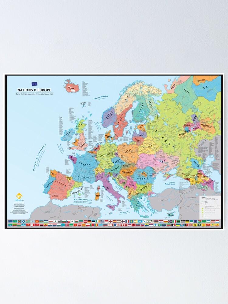 """Poster ''""""Nations d'Europe"""" : Carte des nations historiques d'Europe (en français)': autre vue"""