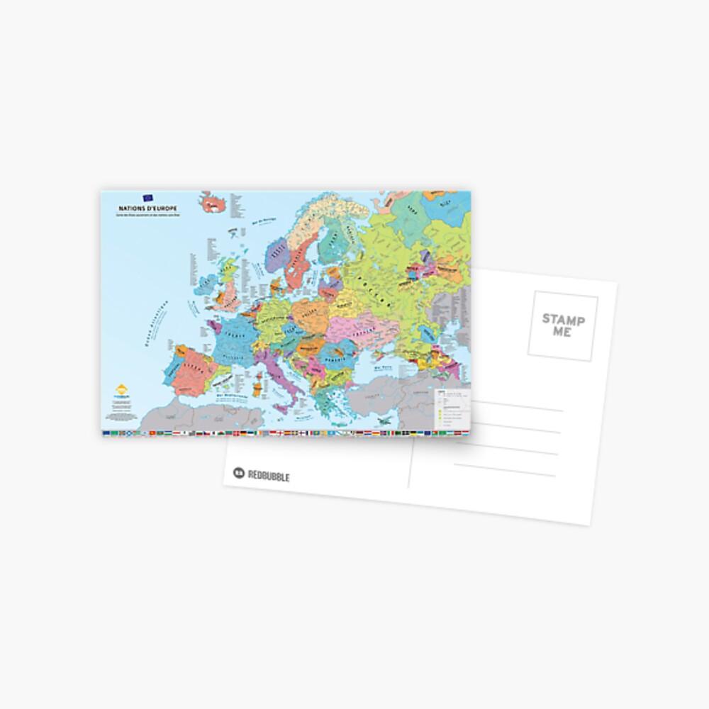 """Carte postale «""""Nations d'Europe"""" : Carte des nations historiques d'Europe (en français)»"""