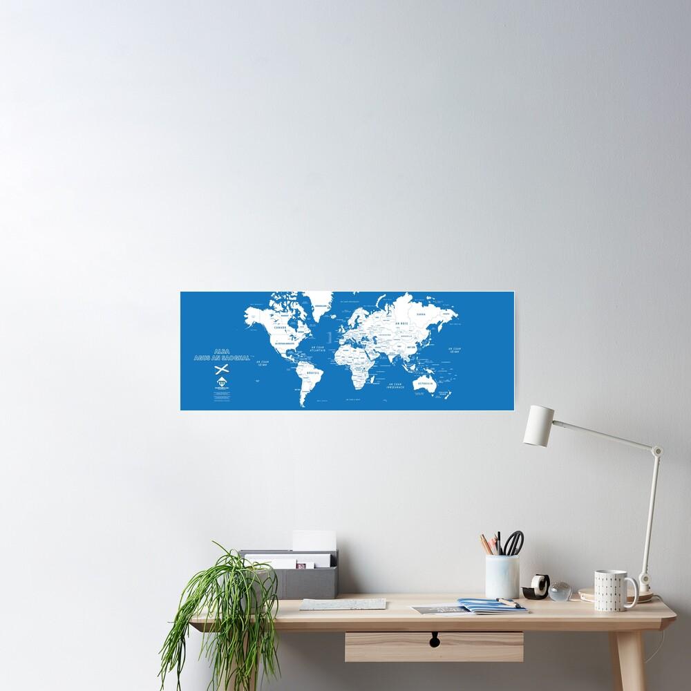 Poster «Carte du monde design en format long en gaélique d'Ecosse»