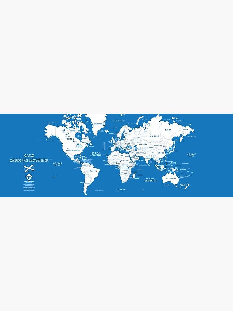 «Carte du monde design en format long en gaélique d'Ecosse» par Multinatio