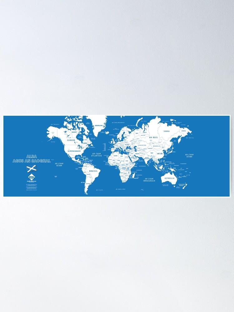 Poster ''Carte du monde design en format long en gaélique d'Ecosse': autre vue