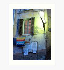 washing line at night Art Print