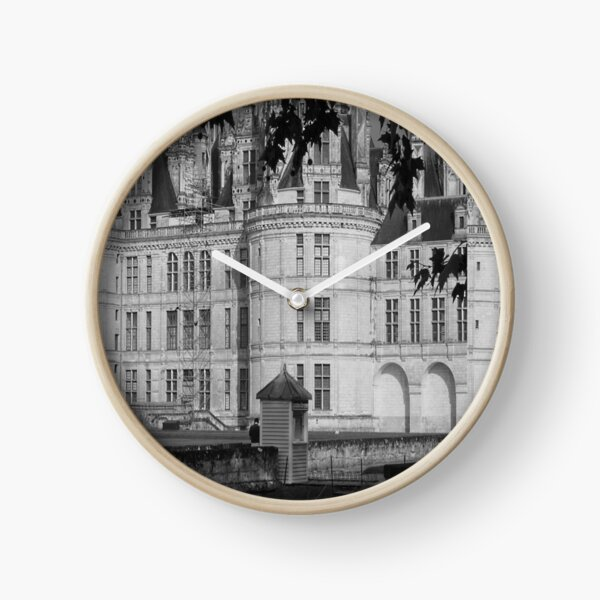 Chateau Chambord Black and White  Clock