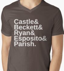 Castle & Beckett & Ryan & Esposito & Parish Men's V-Neck T-Shirt