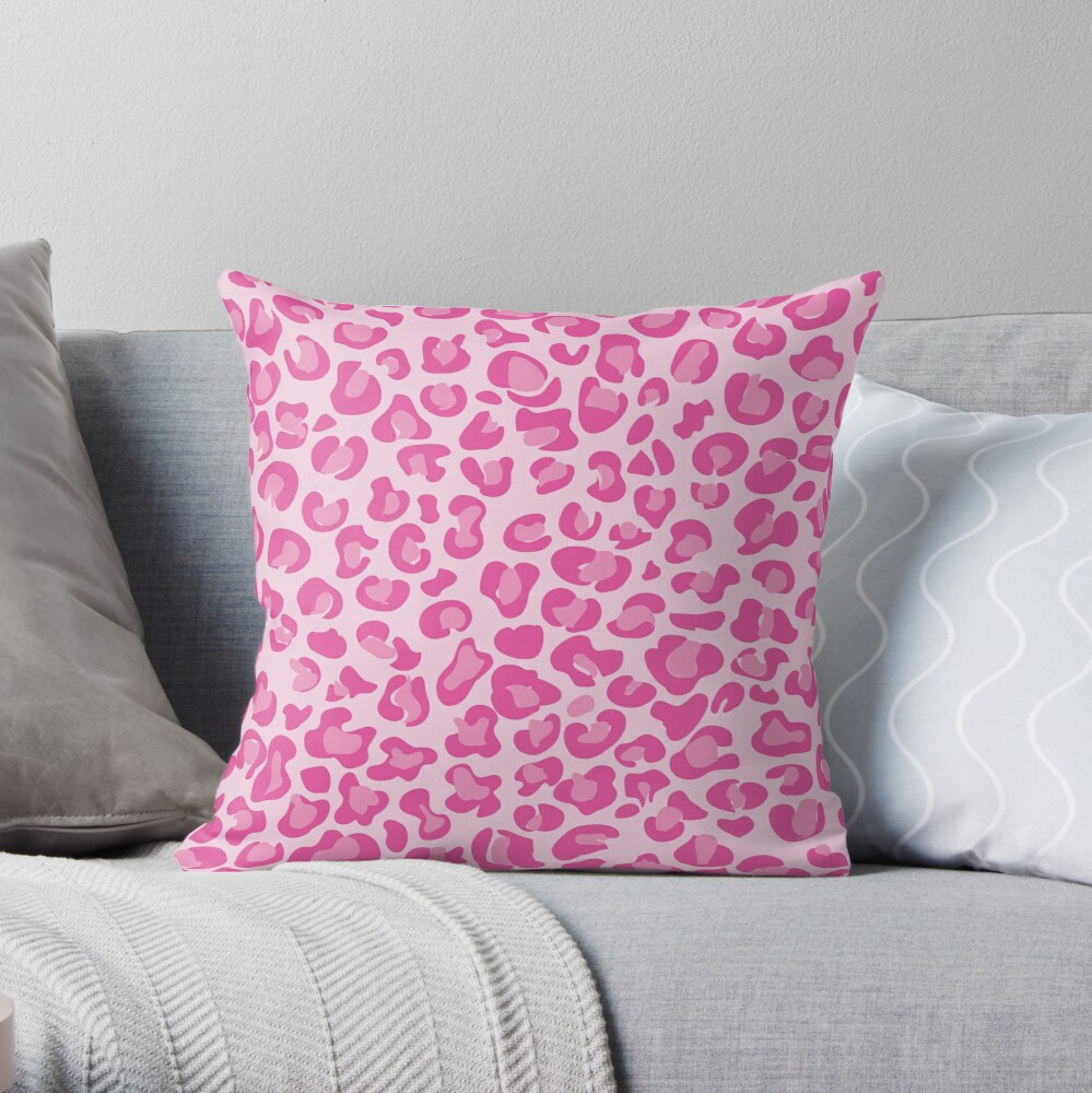 Pink Leopard Print  Throw Pillow