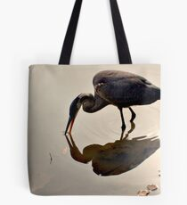 Great Blue Heron at Grover Cleveland Park, Essex Fells NJ - reflections1 Tote Bag