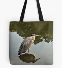 Great Blue Heron at Grover Cleveland Park, Essex Fells NJ - reflections2 Tote Bag