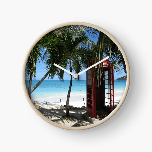 Antigua Red Phone Box Clock