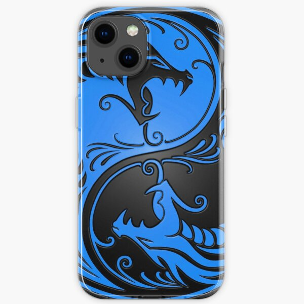 Yin Yang Dragons Blue and Black iPhone Soft Case