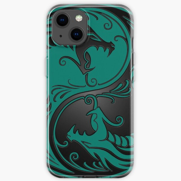 Yin Yang Dragons Teal Blue and Black iPhone Soft Case