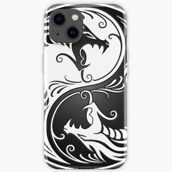 Yin Yang Dragons White and Black iPhone Soft Case