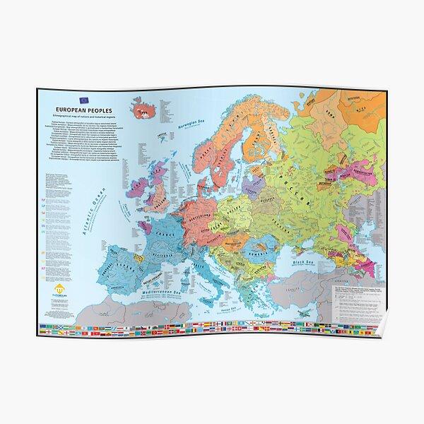 Carte ethnographique des peuples et régions d'Europe (multilingue) Poster