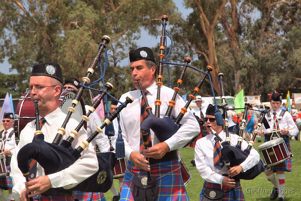 Scottish Drum and Bagpipe Band by Geoffrey Higges