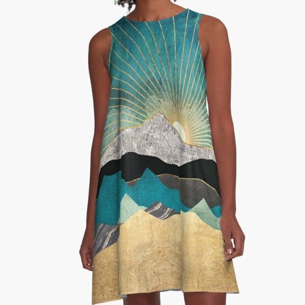 Peacock Vista A-Line Dress