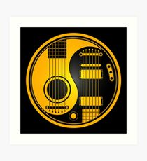 Yellow and Black Acoustic Electric Guitars Yin Yang Art Print