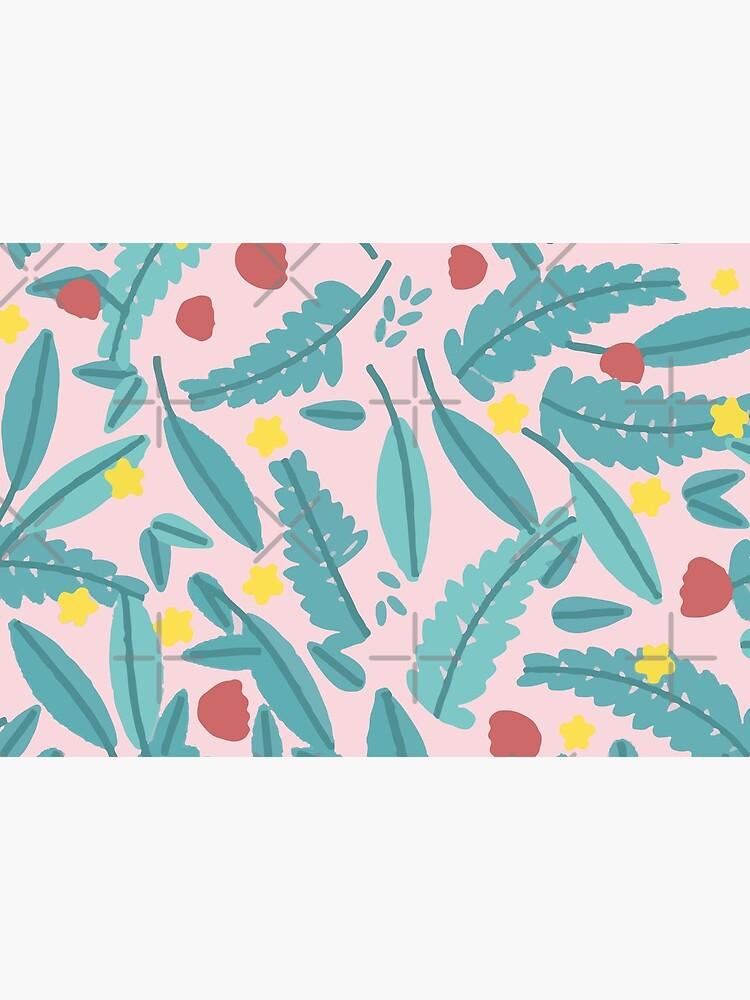 Schönes Blatt Botanik Stil Design Geschenk mit Blumen Blüten und Blättern von jodotodesign