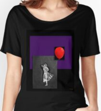 Red Balloon on black Women's Relaxed Fit T-Shirt