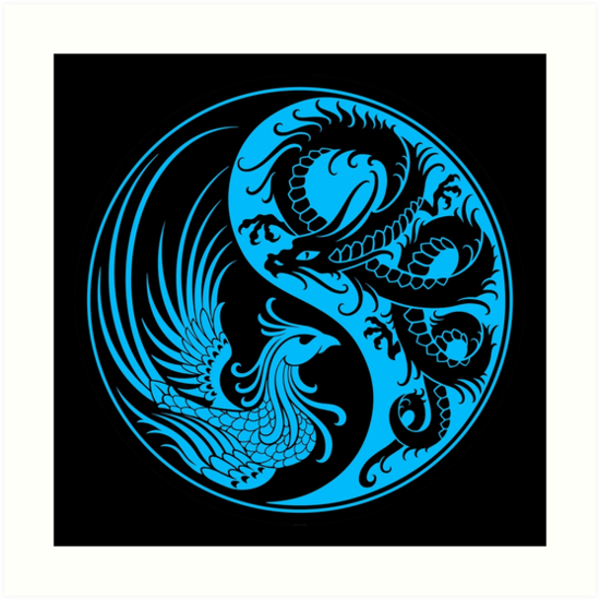 """Blue and Black Dragon Phoenix Yin Yang"" Art Prints by ..."