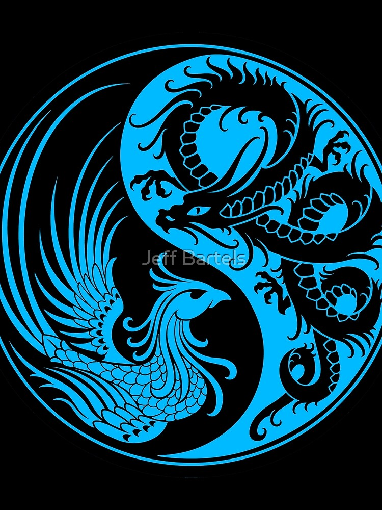 Blue and Black Dragon Phoenix Yin Yang by JeffBartels
