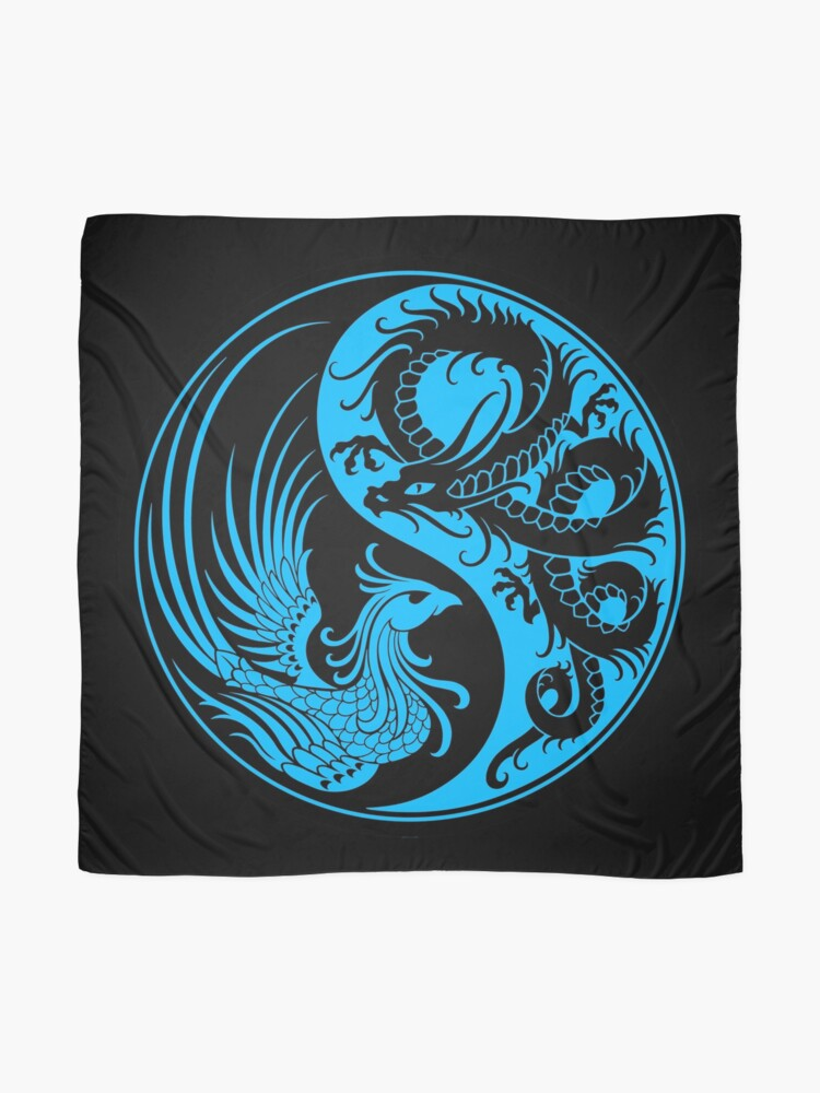 Alternate view of Blue and Black Dragon Phoenix Yin Yang Scarf