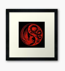 Red and Black Dragon Phoenix Yin Yang Framed Print