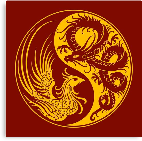 Quot Yellow And Red Dragon Phoenix Yin Yang Quot Canvas Prints By