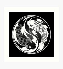 Black and White Yin Yang Koi Fish Art Print