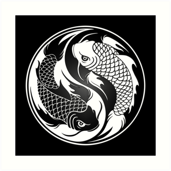 Black and white yin yang koi fish art prints by jeff for Black and white coy fish