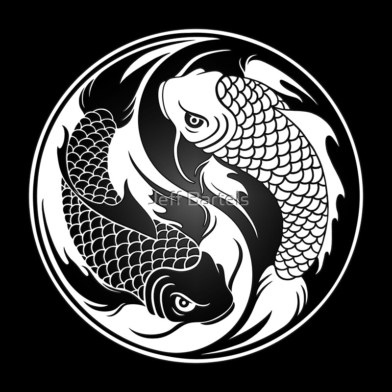 black and white yin yang koi fish art prints by jeff bartels redbubble. Black Bedroom Furniture Sets. Home Design Ideas