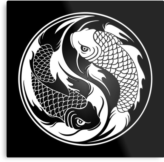 Black and white yin yang koi fish metal prints by jeff bartels black and white yin yang koi fish by jeff bartels publicscrutiny Image collections