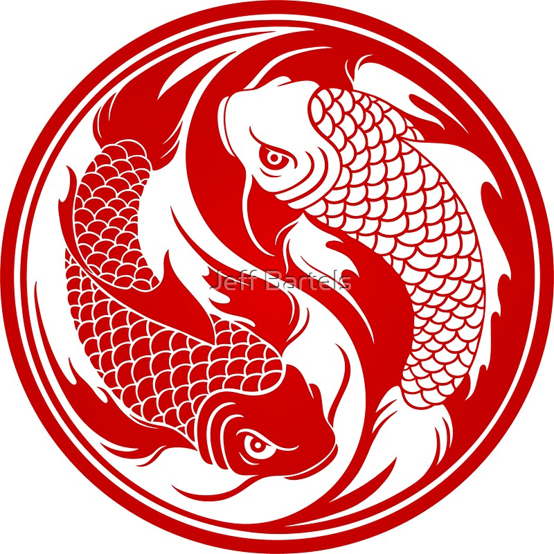 Red and white yin yang koi fish stickers by jeff bartels for Red and white koi