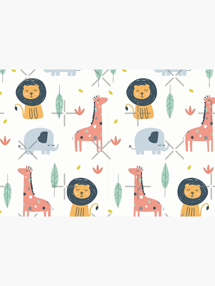 Niedliches Safari Tier Design Geschenk mit Elefant, Giraffe und Löwe von jodotodesign