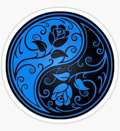 Blue and Black Yin Yang Roses Sticker