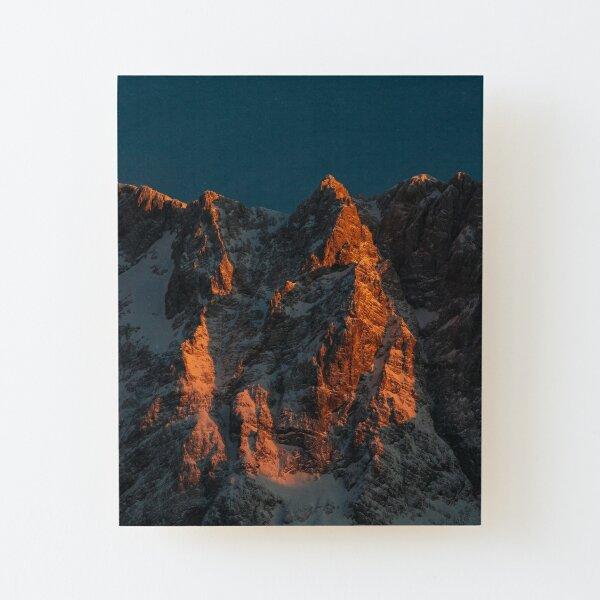 Sunset light on majestic mountains Wood Mounted Print