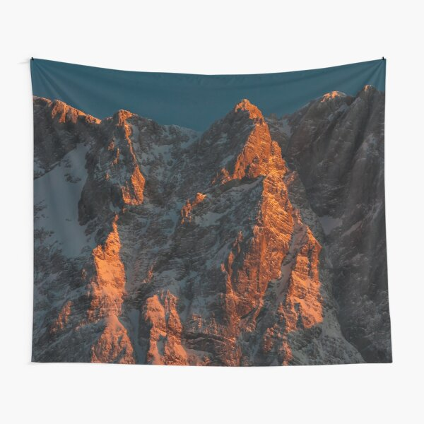 Sunset light on majestic mountains Tapestry