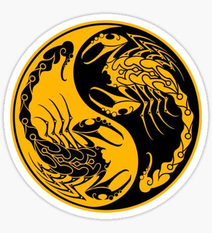 Gelbe und schwarze Scorpions Yin Yang Sticker