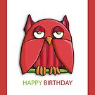 Red Owl Birthday Card by Mariana Musa