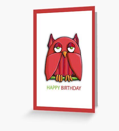 Red Owl Birthday Card Greeting Card