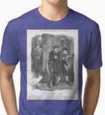Jack the Ripper Punch Cartoon Whitechapel 1888 Tri-blend T-Shirt