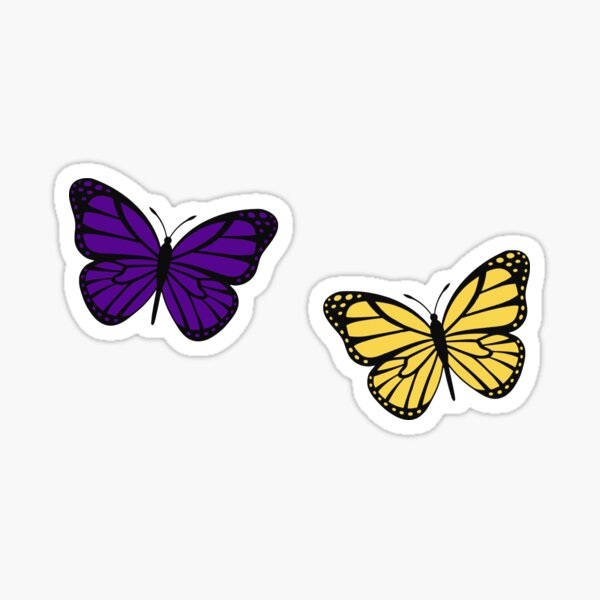 purple and yellow butterflies Sticker