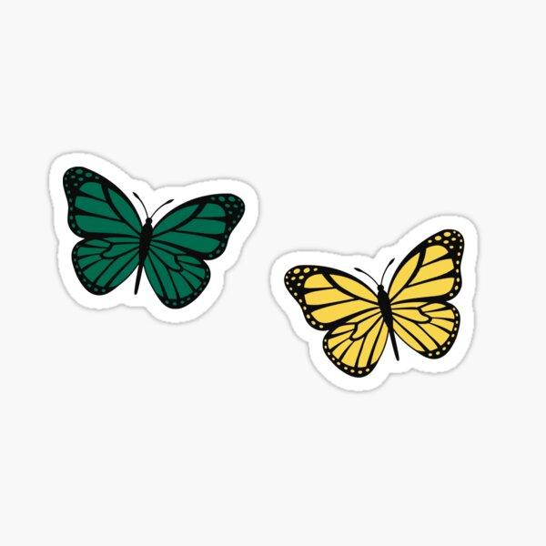 green and yellow butterflies Sticker