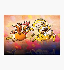 Easter Bunny Stealing an Egg from a Furious Hen Photographic Print