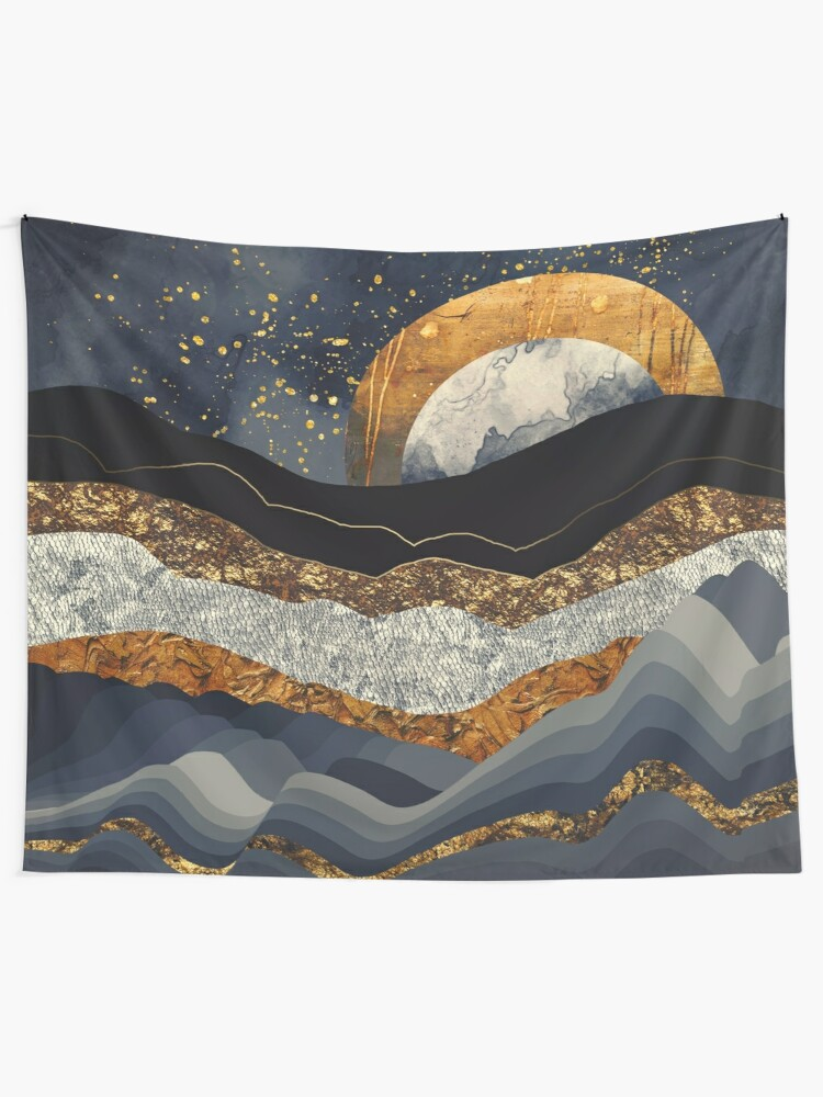 Alternate view of Metallic Mountains Tapestry