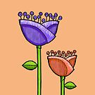 Fun Doodle Flowers orange purple iPhone 4 Case by Mariana Musa