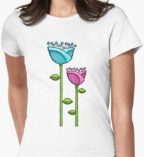 Fun Doodle Flowers blue pink T-Shirt